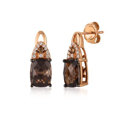 14K Strawberry Gold® Chocolate Quartz® 2  1/2 cts. Earrings with Chocolate Diamonds®  cts., Vanilla Diamonds® 1/15 cts. | YQYM 34