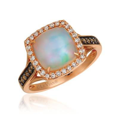 14K Strawberry Gold® Neopolitan Opal™ 1  7/8 cts. Ring with Chocolate Diamonds® 1/8 cts., Vanilla Diamonds® 1/5 cts. | YQYM 83