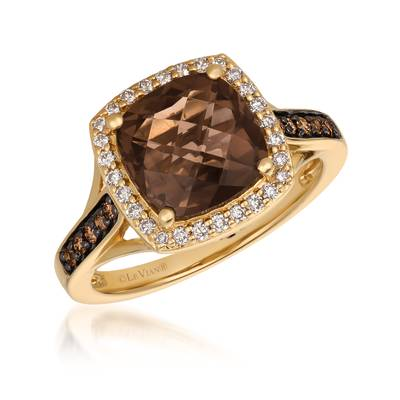 14K Honey Gold™ Chocolate Quartz® 2  3/4 cts. Ring with Chocolate Diamonds® 1/8 cts., Vanilla Diamonds® 1/5 cts. | YQYM 84