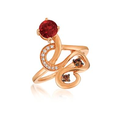 14K Strawberry Gold® Raspberry Rhodolite® 7/8 cts. Ring with Chocolate Diamonds® 1/10 cts., Vanilla Diamonds® 1/20 cts. | YQYO 3