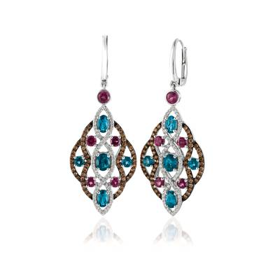 14K Vanilla Gold® Deep Sea Blue Topaz™ 2  1/3 cts., Raspberry Rhodolite® 1  1/2 cts. Earrings with Chocolate Diamonds® 3/4 cts., Vanilla Diamonds® 1/2 cts. | YQYO 4