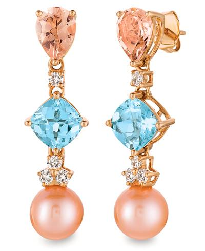 14K Strawberry Gold® Sea Blue Aquamarine® 2  1/3 cts., Peach Morganite™ 1  1/2 cts., Strawberry Pearls®  cts. Earrings with Vanilla Diamonds® 1/3 cts. | YQYO 40