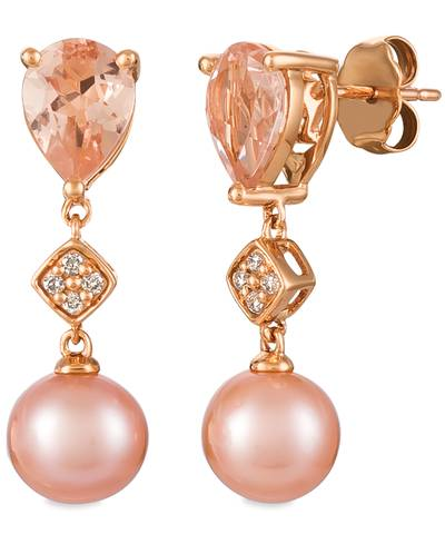 14K Strawberry Gold® Peach Morganite™ 1  1/2 cts., Strawberry Pearls®  cts. Earrings with Vanilla Diamonds® 1/20 cts. | YQYO 42
