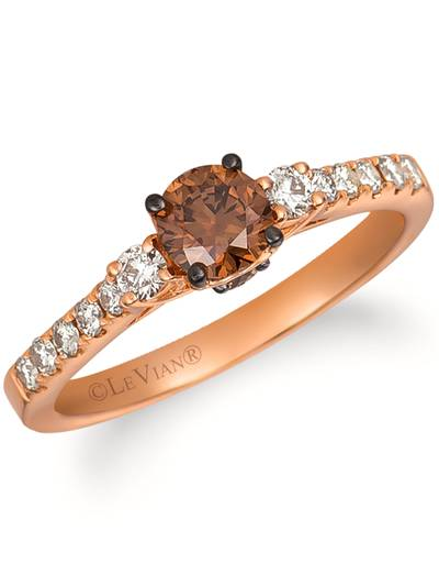 14K Strawberry Gold® Ring with Chocolate Diamonds® 1/2 cts., Nude Diamonds™ 1/4 cts. | YQYR 64