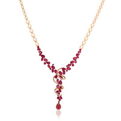 14K Strawberry Gold® Passion Ruby™ 14 5/8 cts. Necklace with Vanilla Diamonds® 3/8 cts. | YQYU 94