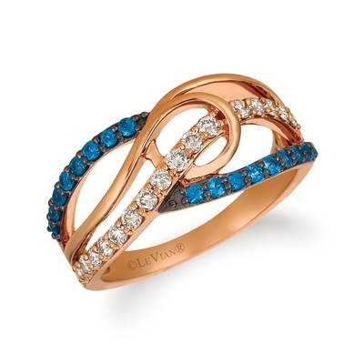 14K Strawberry Gold® Blueberry Sapphire™ 1/3 cts. Ring with Nude Diamonds™ 1/3 cts. | YQZC 47