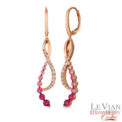 14K Strawberry Gold® Strawberry Ombré® 7/8 cts., White Sapphire 1/3 cts. Earrings | YQZC 49