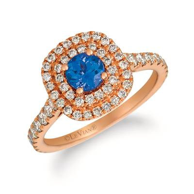 14K Strawberry Gold® Blueberry Tanzanite® 1/2 cts. Ring with Nude Diamonds™ 7/8 cts. | YQZC 73