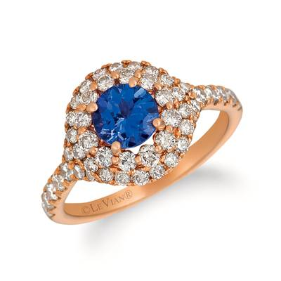 14K Strawberry Gold® Blueberry Tanzanite® 1  1/6 cts. Ring with Nude Diamonds™ 1 cts. | YQZC 76