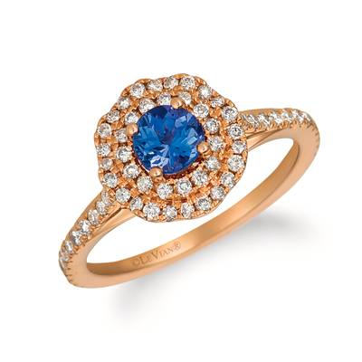 14K Strawberry Gold® Blueberry Tanzanite® 1/2 cts. Ring with Nude Diamonds™ 1/2 cts. | YQZC 77