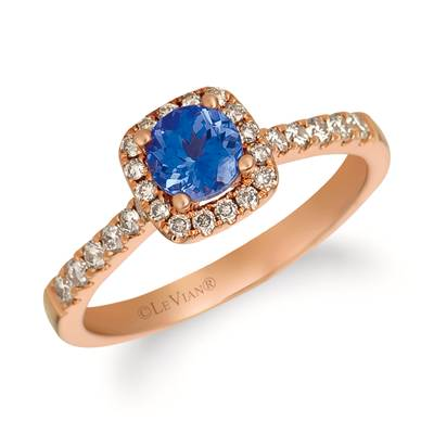 14K Strawberry Gold® Blueberry Tanzanite® 1/2 cts. Ring with Nude Diamonds™ 1/3 cts. | YQZC 78