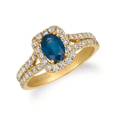 14K Honey Gold™ Blueberry Sapphire™ 3/4 cts. Ring with Nude Diamonds™ 3/4 cts. | YQZC 80-070