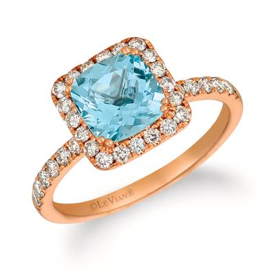 14K Strawberry Gold® Sea Blue Aquamarine® 1  1/6 cts. Ring with Nude Diamonds™ 1/2 cts. | YQZC 82