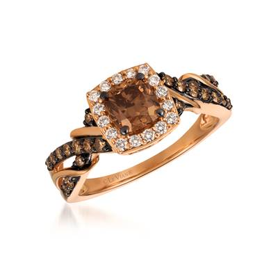 14K Strawberry Gold® Ring with Chocolate Diamonds® 1 cts., Vanilla Diamonds® 1/5 cts. | YQZD 3