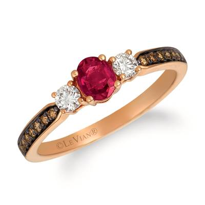 14K Strawberry Gold® Passion Ruby™ 3/8 cts. Ring with Vanilla Diamonds® 1/6 cts., Chocolate Diamonds® 1/10 cts. | YQZE 10