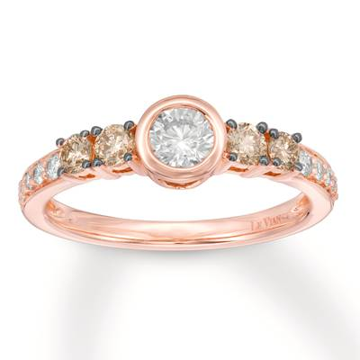 14K Strawberry Gold® Ring with Vanilla Diamonds® 3/8 cts., Chocolate Diamonds® 1/3 cts. | YQZE 19