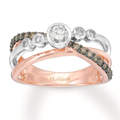 14K Two Tone Gold Ring with Vanilla Diamonds® 1/3 cts., Chocolate Diamonds® 1/3 cts. | YQZE 22