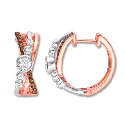 14K Two Tone Gold Earrings with Vanilla Diamonds® 1/2 cts., Chocolate Diamonds® 1/4 cts. | YQZE 23