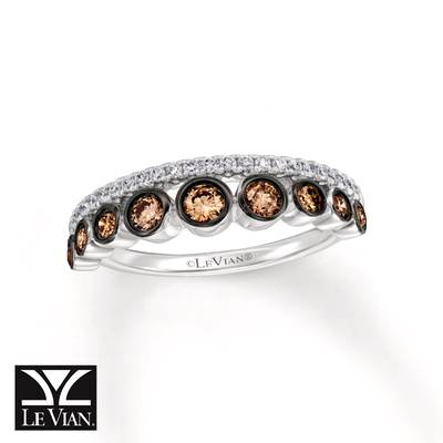 14K Vanilla Gold® Ring with Chocolate Diamonds® 3/8 cts., Vanilla Diamonds® 1/8 cts. | YQZG 43
