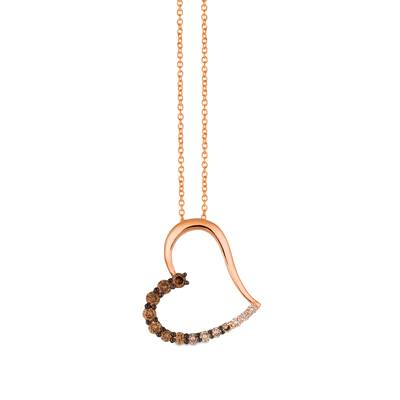 14K Strawberry Gold® Pendant with Chocolate Ombré Diamonds® 1/2 cts. | YQZG 78