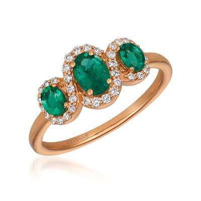 14K Strawberry Gold® Costa Smeralda Emeralds™ 5/8 cts. Ring with Vanilla Diamonds® 1/5 cts. | YQZI 64