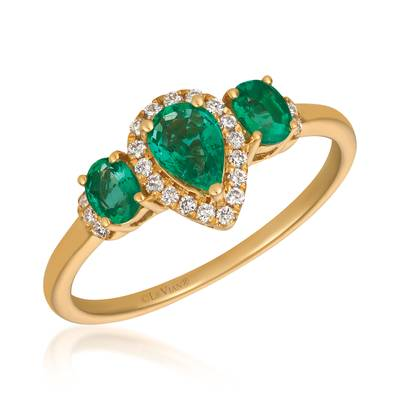 14K Honey Gold™ Costa Smeralda Emeralds™ 5/8 cts. Ring with Vanilla Diamonds® 1/10 cts. | YQZI 73