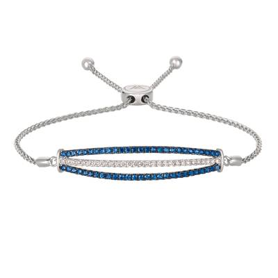 14K Vanilla Gold® Blueberry Sapphire™ 1 cts. Bolo Bracelet with Vanilla Diamonds® 3/8 cts. | YQZJ 64