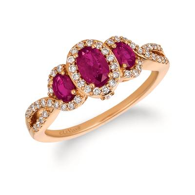 14K Strawberry Gold® Passion Ruby™ 7/8 cts. Ring with Vanilla Diamonds® 1/3 cts. | YQZM 26