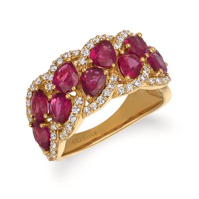14K Honey Gold™ Passion Ruby™ 3  1/5 cts. Ring with Vanilla Diamonds® 1/2 cts. | YQZM 48