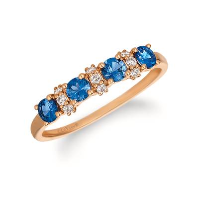 14K Strawberry Gold® Blueberry Sapphire™ 1/2 cts. Ring with Vanilla Diamonds® 1/10 cts. | YQZM 58