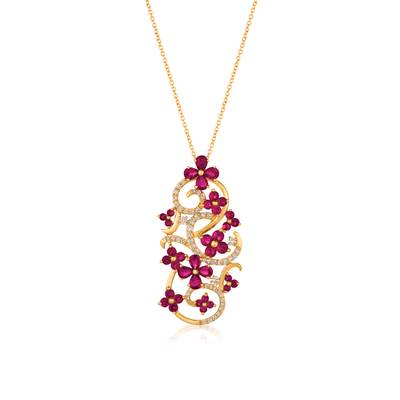 14K Honey Gold™ Passion Ruby™ 2  7/8 cts. Pendant with Vanilla Diamonds® 1/2 cts. | YQZV 31