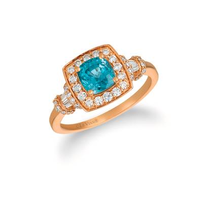 14K Strawberry Gold® Blueberry Zircon™ 1  1/5 cts. Ring with Vanilla Diamonds® 3/8 cts. | YRAE 31