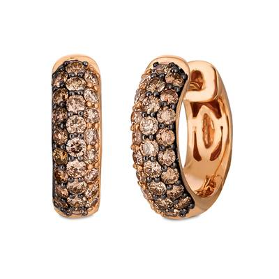14K Strawberry Gold® Earrings with Chocolate Ombré Diamonds® 1 cts. | YRAG 15