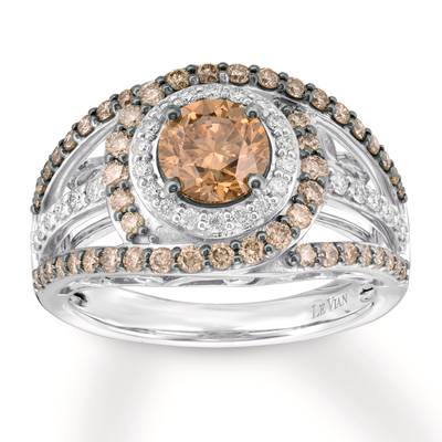 14K Vanilla Gold® Ring with Chocolate Diamonds® 1  5/8 cts., Vanilla Diamonds® 1/4 cts. | YRBA 34