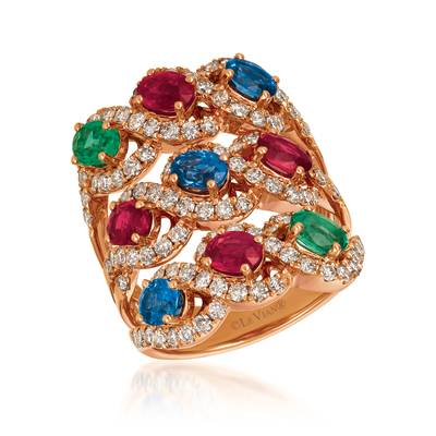 14K Strawberry Gold® Blueberry Sapphire™ 1  1/6 cts., Passion Ruby™ 1  3/8 cts., Costa Smeralda Emeralds™ 5/8 cts. Ring | YRBC 43