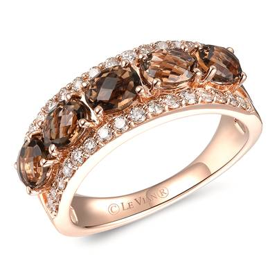14K Strawberry Gold® Chocolate Quartz® 1  5/8 cts. Ring with Nude Diamonds™ 3/8 cts. | YRBI 1093