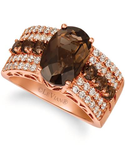 14K Strawberry Gold® Chocolate Quartz® 3  3/4 cts. Ring with Nude Diamonds™ 5/8 cts. | YRBI 1105