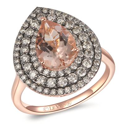 14K Strawberry Gold® Peach Morganite™ 1  1/3 cts. Ring with Chocolate Diamonds® 1 cts. | YRBI 1129