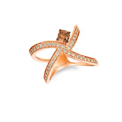 14K Strawberry Gold® Ring with Chocolate Diamonds® 1/2 cts., Nude Diamonds™ 3/4 cts. | YRBI 591-070
