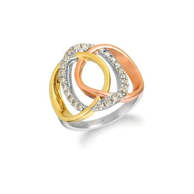 14K Tri Color Gold Ring with Nude Diamonds™ 1/2 cts. | YRBI 632-070