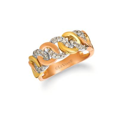 14K Tri Color Gold Ring with Nude Diamonds™ 3/8 cts. | YRBI 639-070