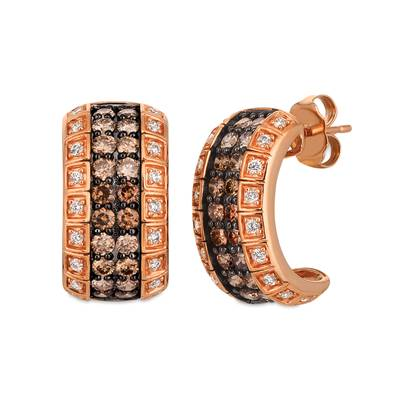 14K Strawberry Gold® Earrings with Chocolate Diamonds® 1  1/4 cts., Vanilla Diamonds® 1/4 cts. | YRBJ 21