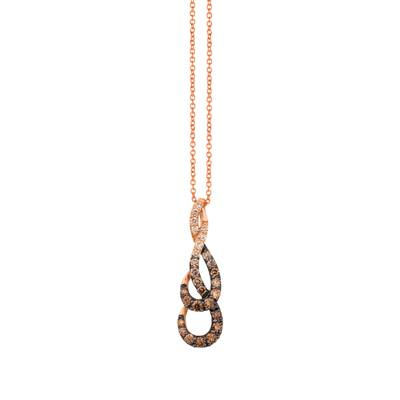 14K Strawberry Gold® Pendant with Chocolate Diamonds® 5/8 cts., Candied Pecan Diamonds® 1/10 cts. | YRBJ 23