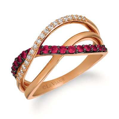 14K Strawberry Gold® Passion Ruby™ 1/3 cts. Ring with Vanilla Diamonds® 1/8 cts. | YRBJ 53