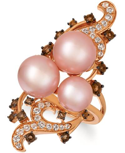 14K Strawberry Gold® Chocolate Quartz® 5/8 cts., Vanilla Topaz™ 1/2 cts., Strawberry Pearls®  cts. Ring | YRBM 1