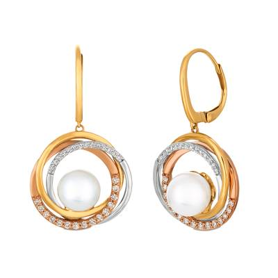 14K Tri Color Gold Vanilla Pearls™  cts. Earrings with Vanilla Diamonds® 3/8 cts. | YRBM 33