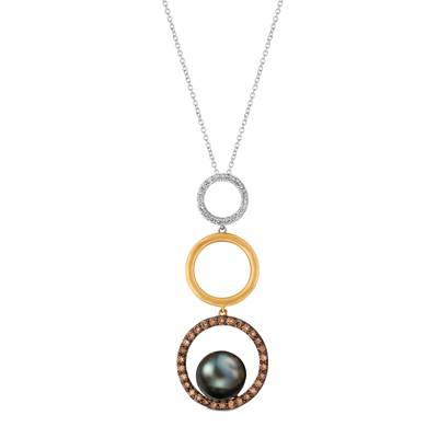 14K Tri Color Gold Black Pearl  cts. Pendant with Chocolate Diamonds® 3/8 cts., Vanilla Diamonds® 1/8 cts. | YRBM 35