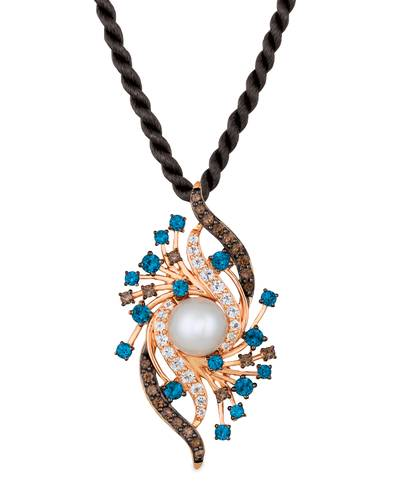 14K Strawberry Gold® Deep Sea Blue Topaz™ 1  3/8 cts., Vanilla Topaz™ 5/8 cts., Chocolate Quartz® 5/8 cts., Vanilla Pearls™  cts. Pendant | YRBM 50