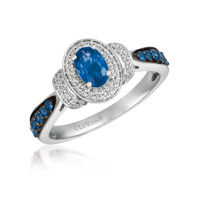 14K Vanilla Gold® Blueberry Sapphire™ 3/4 cts. Ring with Vanilla Diamonds® 1/8 cts. | YRBQ 25