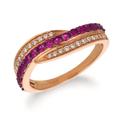 14K Strawberry Gold® Passion Ruby™ 3/8 cts. Ring with Vanilla Diamonds® 1/6 cts. | YRBS 83